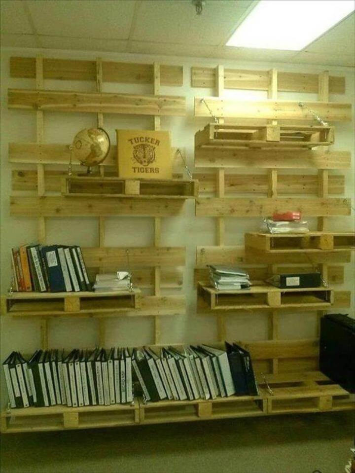 wooden pallet wall shelving
