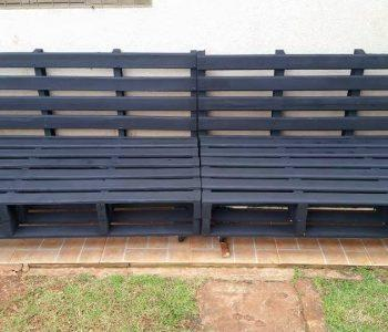 whole pallet stained garden sofa
