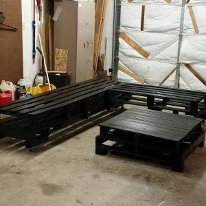 Whole pallet L-sofa with coffee table