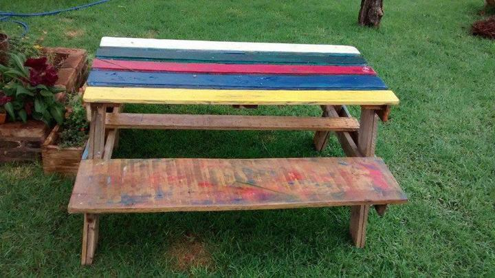 recycled pallet colorful picnic table