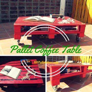 Pallet Coffee Table with Glass Top