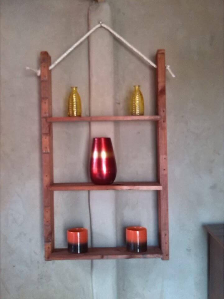 recycled pallet and nautical rope wall hanging shelf