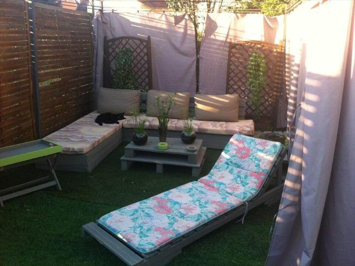 recycled pallet garden and patio furniture set