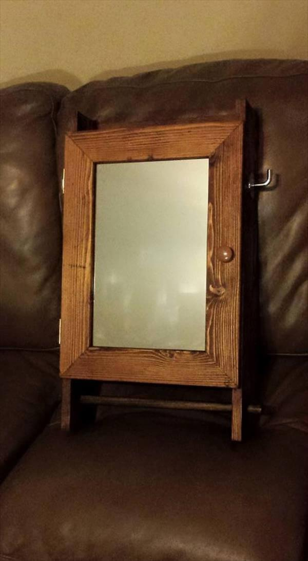recycled pallet wall mirror cabinet with towel rack
