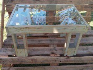 Pallet Wood Coffee Table with Glass Top