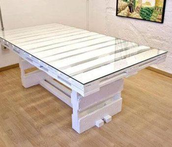 recycled pallet white coffee table with glass top