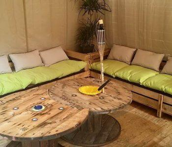 reclaimed pallet and cable spool furniture set