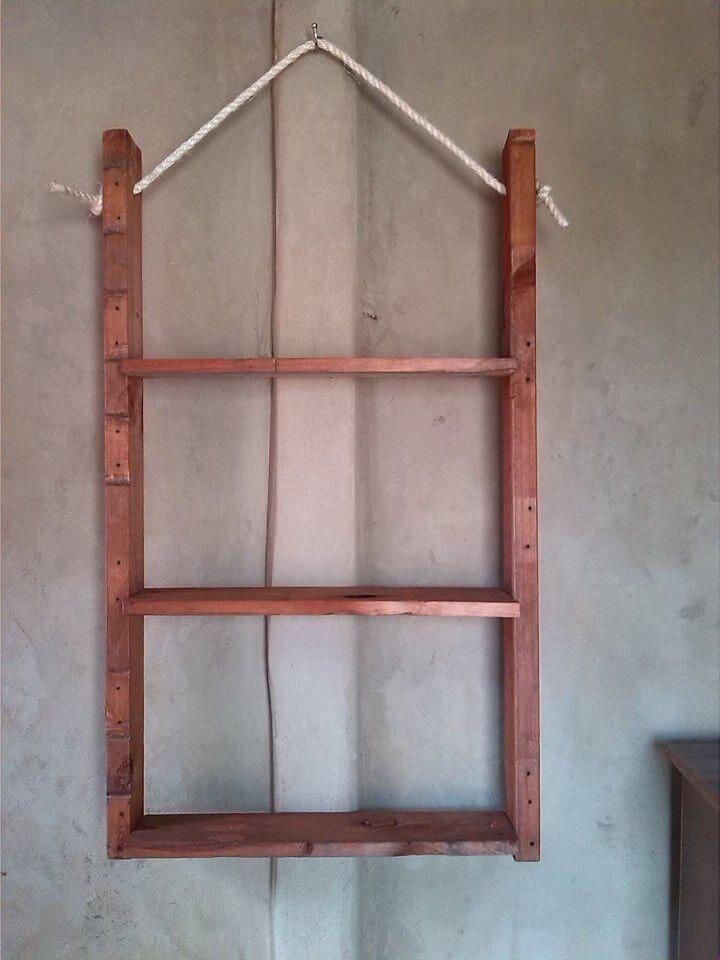 diy pallet and rope hanging shelf