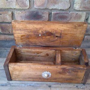 wooden pallet small storage box with hinged lid