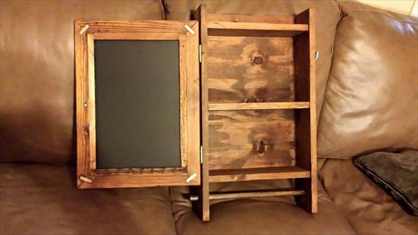 pallet wall cabinet with mirror and towel rack