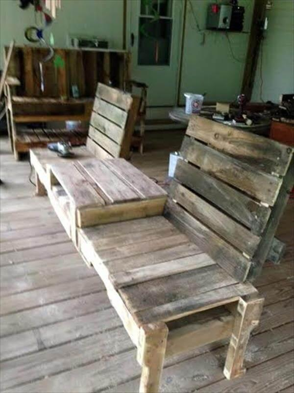 recycled pallet double chair patio bench