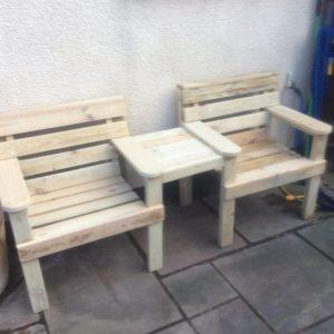 reclaimed pallet double chair patio bench