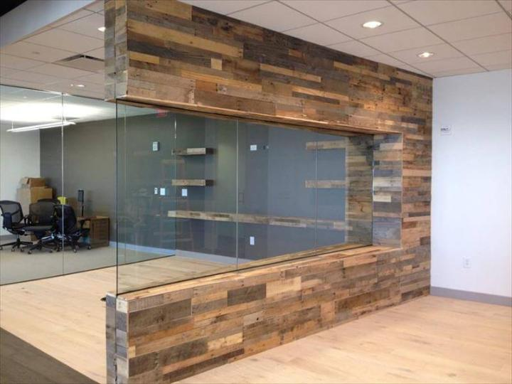 pallet office cabin exterior wall paneling idea