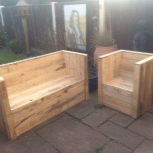 upcycled pallet garden bench and chair