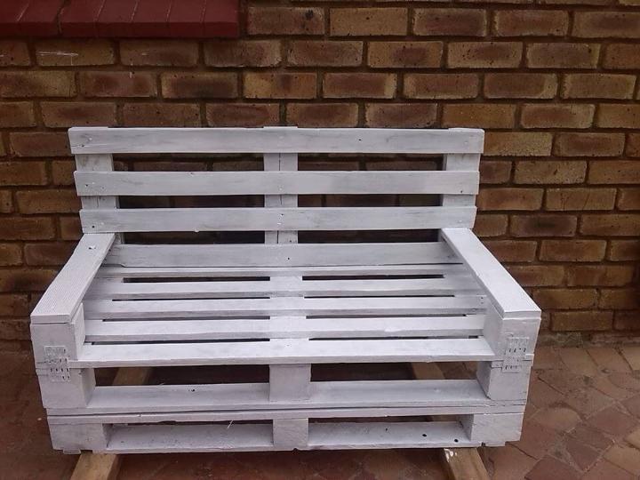 handmade white pallet garden bench