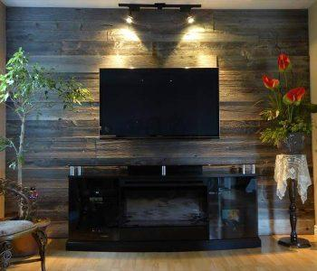 rustic pallet media room accent wall