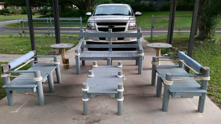 handmade pallet patio furniture set inspired of nautical decors