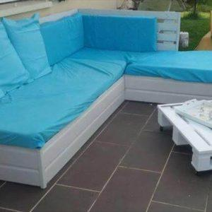 handcrafted pallet patio L-sofa with white coffee table