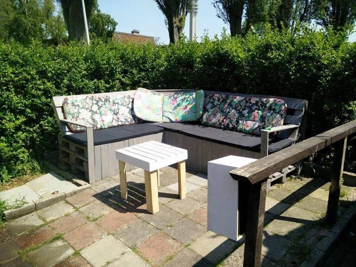 diy pallet patio corner sofa with table
