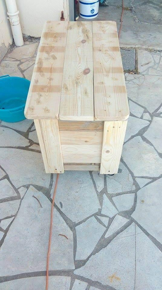 reclaimed pallet rolling storage chest