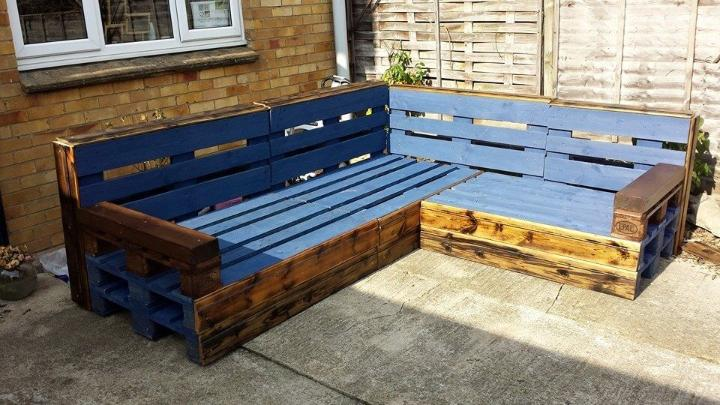 diy pallet rustic and blue patio sofa frame