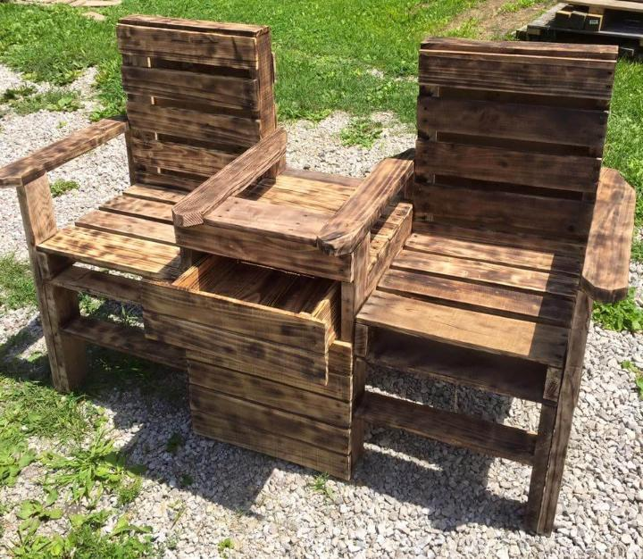 upcycled pallet scorched double chair patio bench