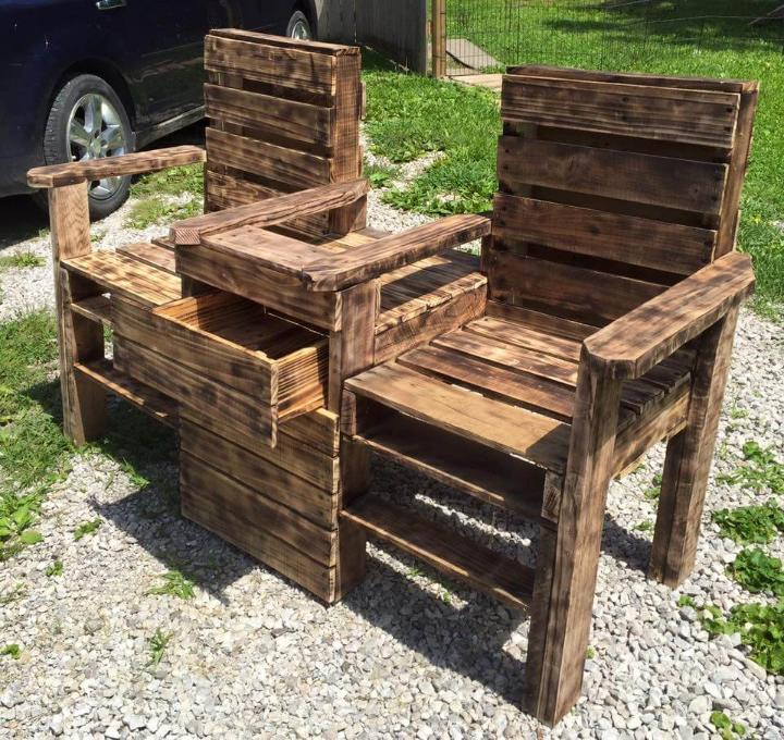 Upcycled Pallet Double Chair Bench Easy Pallet Ideas