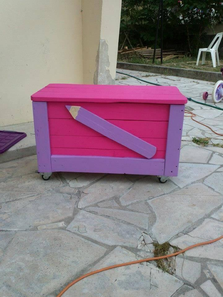 upcycled pink and red pallet kids stationery box with wheels