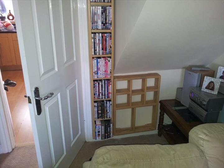 handmade wooden pallet wall bookshelf