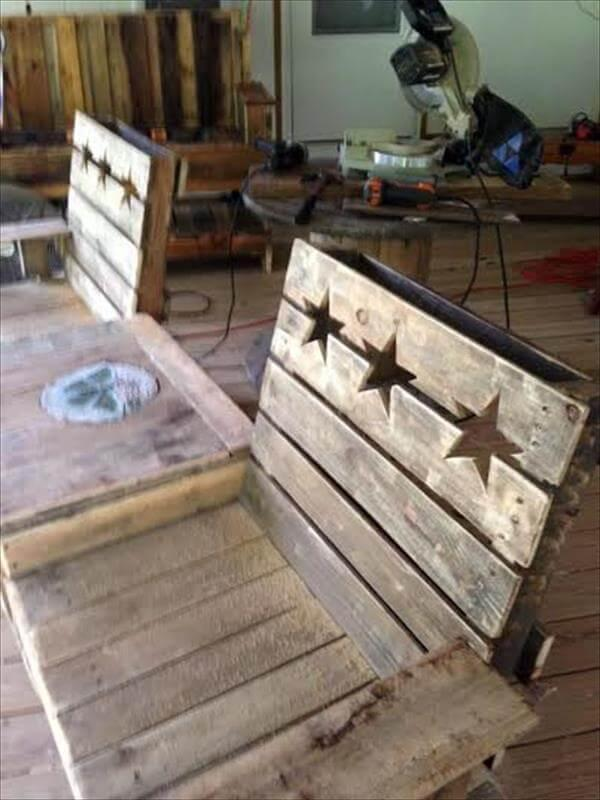 diy pallet patio double chair bench