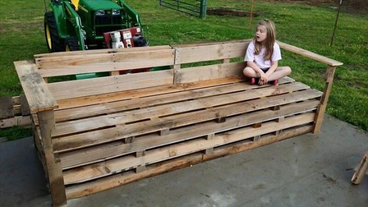 rustic pallet big garden bench