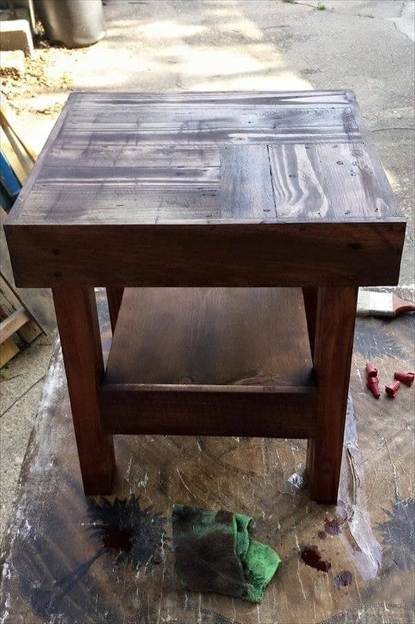 wooden pallet rustic side table