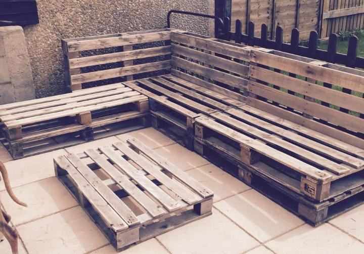 recycled whole pallet patio sectional couch