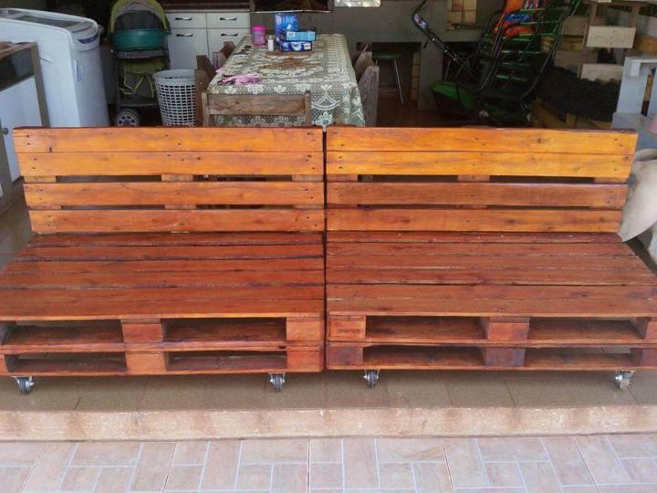 diy wooden whole pallet sofa with wheels
