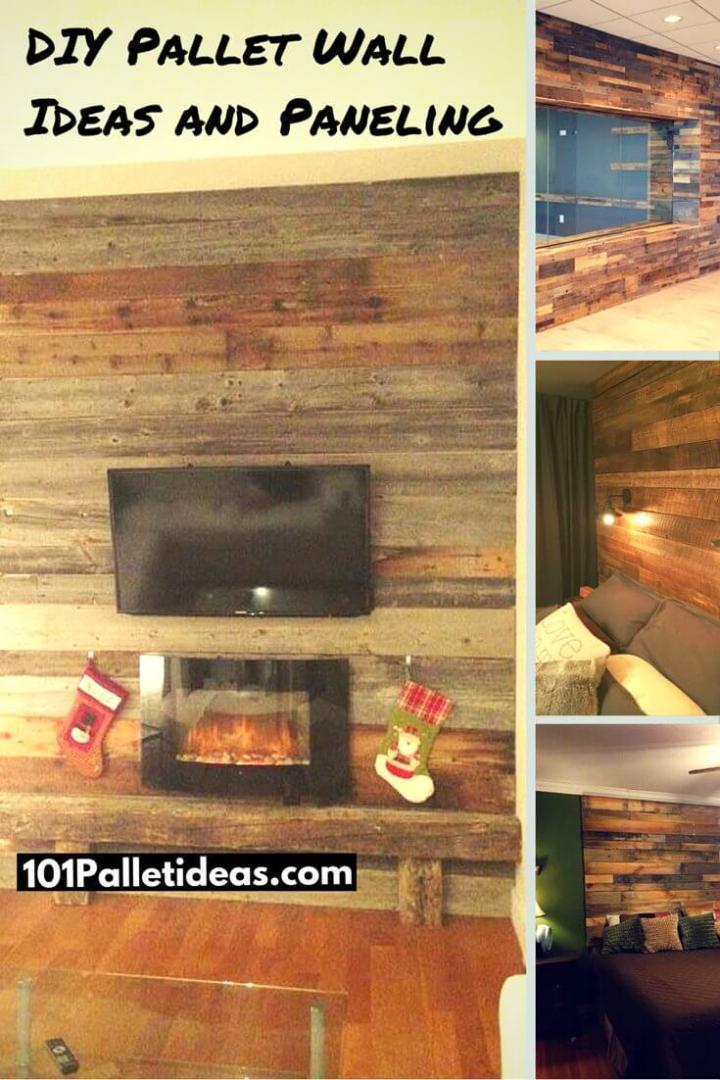 wood paneld walls and media stack rustic backdrops made of pallets