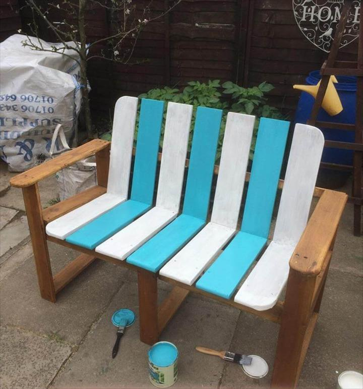 half painted sturdy pallet bench