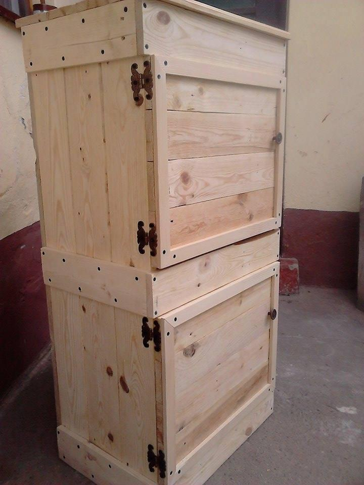 wooden pallet side table and floor cabinet