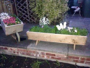 diy pallet wheels barrow wooden garden planter