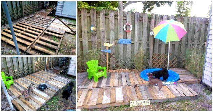 Diy Pallet Doggie Pool Area Pallet Deck Easy Pallet Ideas