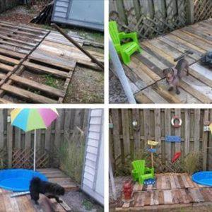 Pallet Dog Pool Area - Pallet Deck