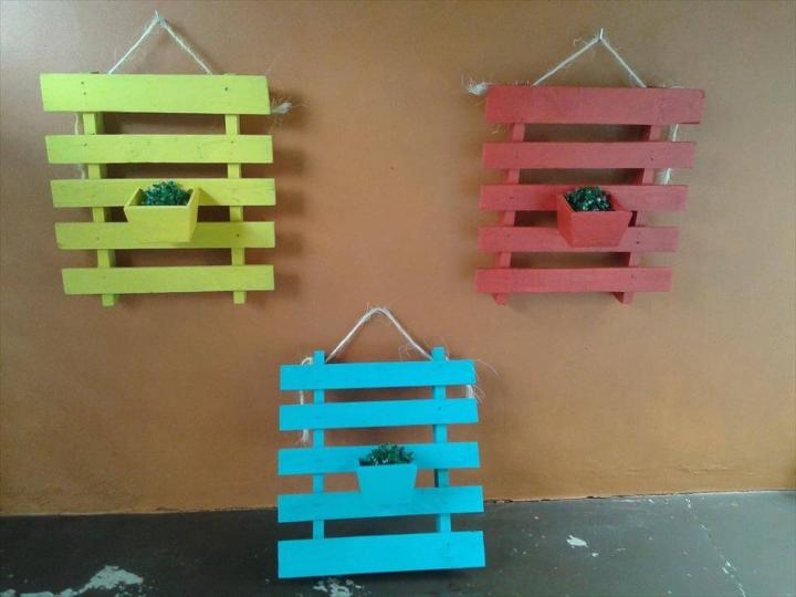 regained pallet wall hanging planters
