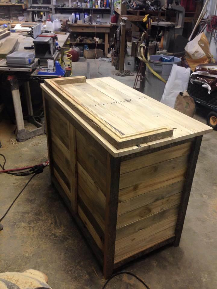 recycled pallet kitchen hutch counter or cabinet