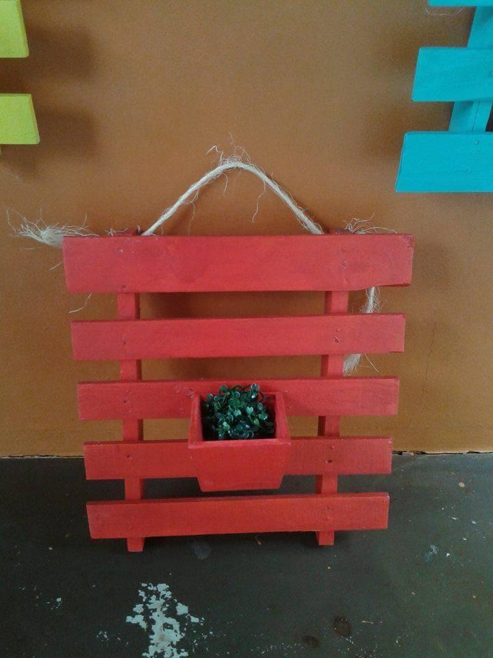 handmade red painted pallet wall hanging planter