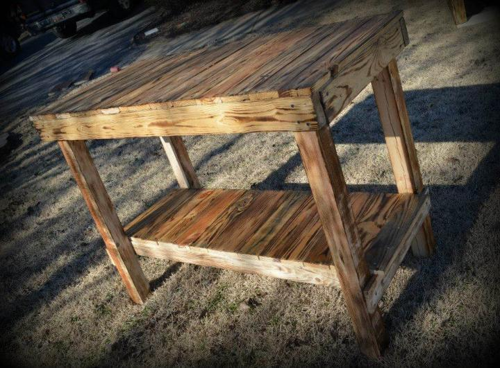 reclaimed pallet kitchen island and console table