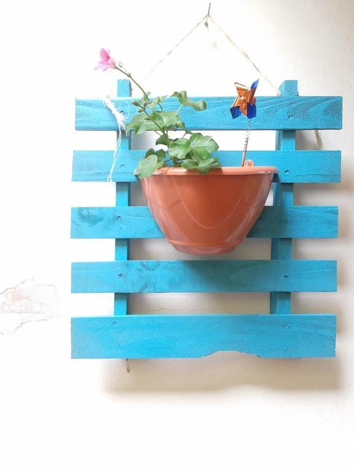 handcrafted wooden pallet blue planter