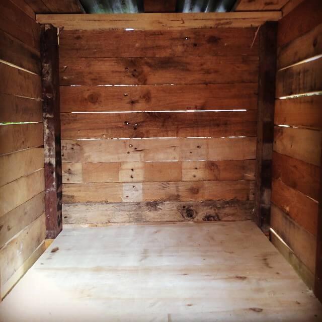 wooden pallet cage interior
