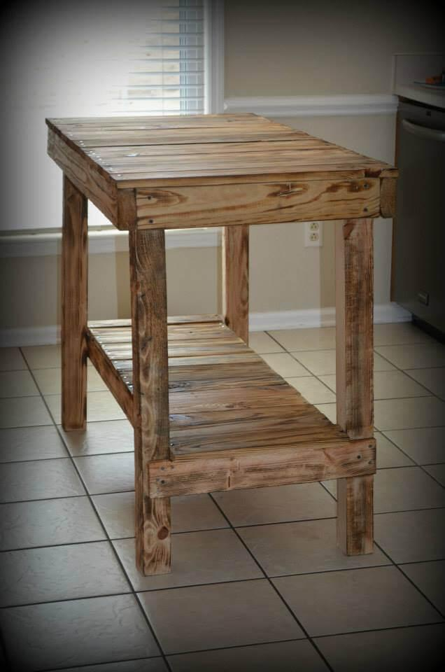 wooden pallet console table and kitchen island