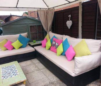 cushioned pallet patio sofa set