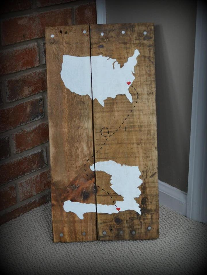 recycled pallet map wall art