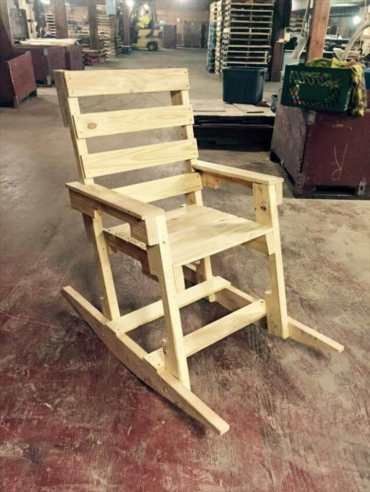 Rebuilt pallet rocking chair